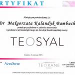 2007 Szkolenie w zakresie stosowania dermatologicznego do korekcji tkanki miękkiej twarzy