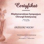 2007 Certyfikat uczestnictwa w Międzynarodowym Sympozjum Chirurgii Estetycznej