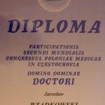 1995 Certyfikat uczestnictwa w kongresie