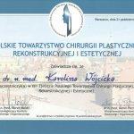2011 Certyfikat uczestnictwa w XIII Zjeździe Polskiego Towarzystwa Chirurgii Plastycznej, Rekonstrukcyjnej i Estetycznej