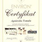 2007 Certyfikat nabycia uprawnień do wykonywania zabiegów Environ