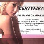 2010 Maciej Charaziński - uczestnictwo w warsztatach: Poprawa estetyki twarzy z wykorzystaniem komórek macierzystych pozyskiwanych w technologii Cytori