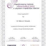 2011 Marcin Nowak - uczestnictwo w konferencji naukowo-szkoleniowej z zakresu chirurgii rekonstrukcji piersi