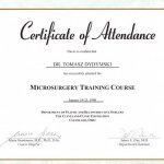 1998 Certificate of Attendance in the Microsurgery Training Course