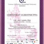 Ukończenie kursu pt.: Techniki laserowe w dermatologii estetycznej - cz. II