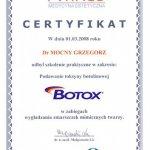 2008 Certyfikat szkolenia: Podawanie toksyny botulinowej