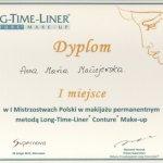 2012 I miejsce w Mistrzostwach Polski w makijażu permanentnym