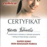 2005 Certyfikat: Super Sonic Skin Massager Rubica