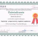 Uczestnictwo w  programie edukacyjnym pt.: Implanty - przywracanie ciągłości uzębienia