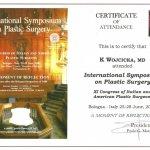 2008 Certyfikat za uczestnictwo w Sympozjum Chirurgii Plastycznej