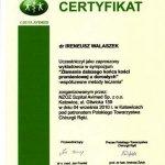 2010 Certyfikat uczestnictwa w sympozjum dla Ireneusz Walaszek