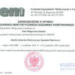 2005 Zaświadczenie o wyniku lekarsko-dyntystycznego egzaminu państwowego