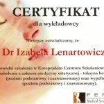 Certyfikat dla wykładowcy szkolenia z zakresu medycyny estetycznej - toksyna botulinowa oraz wypełniacze