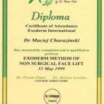 1999 Maciej Charaziński - ukończenie kursu nieoperacyjnego liftingu twarzy metodą Exoderm