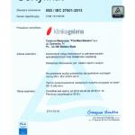 2015 Certyfikat ISO / IEC 27001:2013